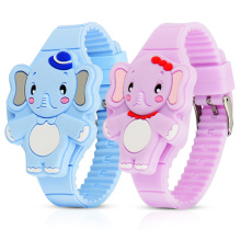 High Quality Cute Elephant Shape LED Fashion Silicone Animal Shape Clamshell Design Digital Led Watch