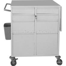 Chariot d'urgence en poudre époxy blanc utilisé à l'hôpital
