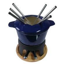 Set à fondue Amazon Cast Iron avec fourchette et brûleur