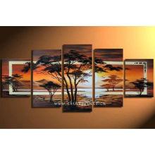Pintura al óleo moderna de la lona del árbol de pino por Handpainted