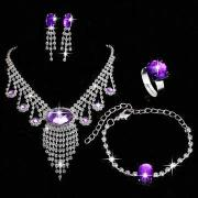 Fashion gemstone jewelry sets, necklace, earrings, rings and bracelet