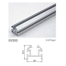 Pista de aluminio plateado anodizado para el marco del armario