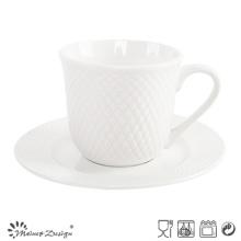 8oz Porzellan Tasse und Untertasse geprägte Design