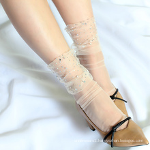 Summer transparent fancy tulle with pearl ankle socks women for dress