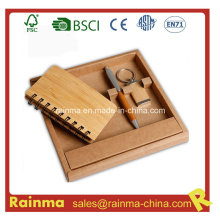 Bamboo Stationery Set with Notebook and Key Chain