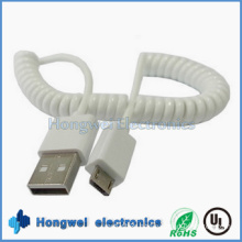 3FT White Car Charger Micro Spring USB Cable for Android