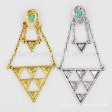 Top Selling Ladies Exaggerated Retro Turquoise Geometric Pendant Earrings Jewelry SSEH010