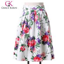 ¡19 colores! Grace Karin Ocasión corta corta retro vintage de impresión floral de algodón falda CL6294-3 #