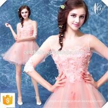 Caliente vendiendo rosa de encaje corto Puffy amor mini partido vestido de baile de promoción de OEM fabricante