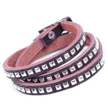 Genuine cow leather multi-layer strap bracelet with square metal rivets vintage style wholesale