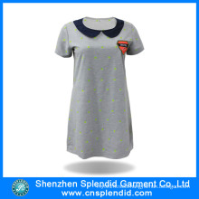 Custom Ladies Fashion Embroidered Cotton Long Polo Tshirt