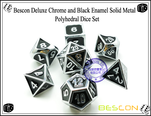 Bescon Deluxe Chrome and Black Enamel Solid Metal Polyhedral Role Playing RPG Game Dice Set (7 Die in Pack)-2