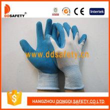 Luvas de revestimento de látex azul, acabamento de espuma, nylon luvas de trabalho (dnl216)