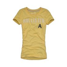 2014 Fashion Flocking Printing Cotton Yellow O-Neck Men′s 160GSM T-Shirt