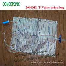Sac d'urine en plastique stérile T-Valve jetable