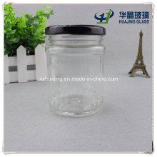 180ml 6oz Round Pickle Glass Mason Jar with Black Cap