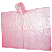 Disposable Pink Plastic Rain Poncho