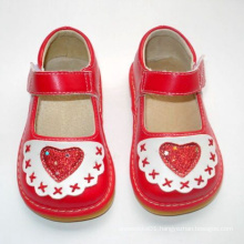 Red Baby Girl Squeaky Shoes with Big Heart