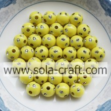 5MM New Design Imitation Round Disco Dot perles couleur jaune