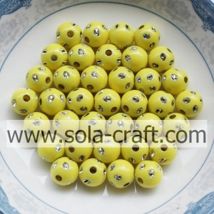 5MM New Design Imitation Round Disco Dot Beads Yellow Color