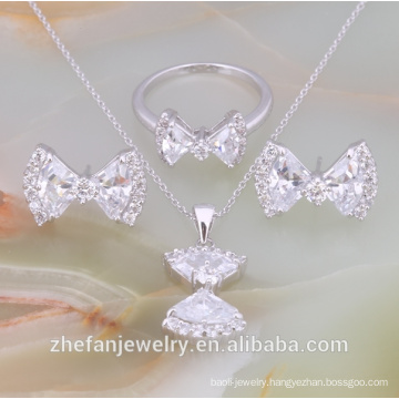 Wholesale white crystal jewelry set american diamond necklace sets Rhodium plated jewelry is your good pick
