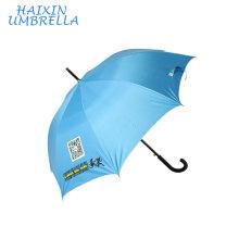 Publicité Hôtel Promotion UV Sun Custom Made Brands Bleu Couleur Stormproof Deux dimensions Bar Code imprimé Logo parapluie Golf