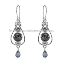 Tourmanilated Quartz y multi piedras preciosas 925 Sterling Silver Earring