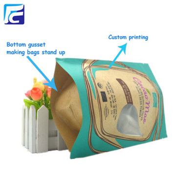 Custom kraft paper powder packaging bag with window