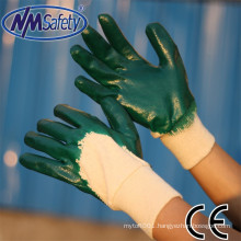 NMSAFETY interlock liner green nitrile industrial work glove nitrile glove malaysia