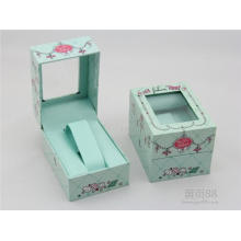 Paquete de venta caliente Caja de regalo de terciopelo negro con ventanas claras