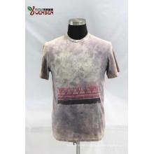 Jersey de cuello redondo con lavado sucio y camisa estampada