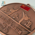Supply Customize Logo Alloy Casting Metal Taekwondo Medals with Ribbon