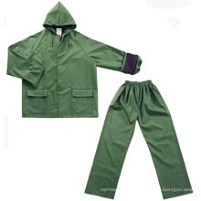 Functional Waterproof Twopiece Rainsuit with PVC Coating