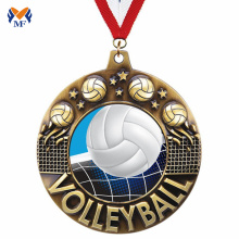 Bulk volleyball medals and awards with medal ribbons