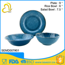 2016 new style design round melamine dinner set plates bowls