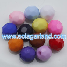 4-20MM Acrylic Opaque Faceted Round Beads