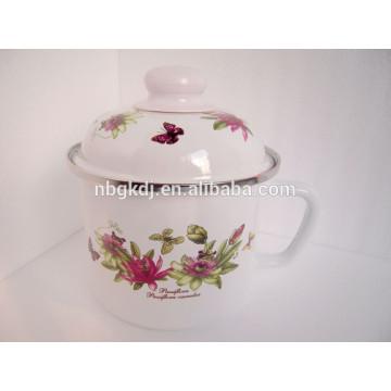 fashional enamel mug/jar with metal lid and full design