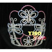 Best seller coloridos cristal flor borboleta princesa tiara coroa