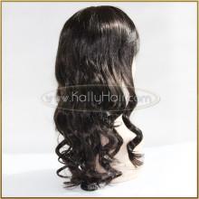 Pelucas sintéticas naturales del frente del cordón del pelo negro de la onda del cuerpo para las mujeres negras