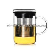 Tasse de verre potable de double de mur de brassage de cadeau promotionnel avec la poignée