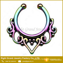 Rainbow Titanium Plated Brass Tribal Fake Septum Piercing