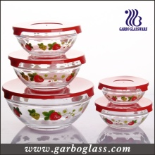 5PCS Storage Bowl Set, Salad Bowl Set with High Quality Plastic Lids Packed Into Color Box