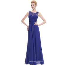 Starzz sin mangas de gasa largo vestido de dama de honor azul azul largo vestido de noche ST000060-4