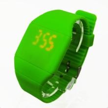 Montres de Digital d'écran tactile de Silicone LED sans visage lisse (HAL-1273)