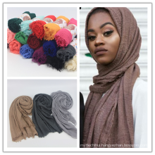 High quality muslim scarf women hijab solid color rayon cotton crinkle hijab scarf