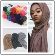 Высокое качество мусульманский платок женщины хиджаб сплошной цвет вискоза хлопок хиджаб шарф рифленный