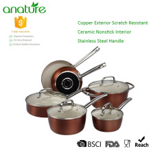 Economic 10pcs Ceramic Nonstick Aluminum Cookware Set