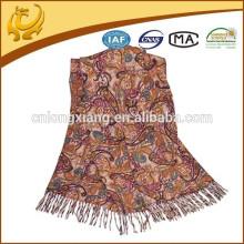 Fábrica própria Fabricação Jacquard Style 100% Lã Lady Shawl Última Estola