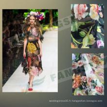 Tissu de robe en mousseline de soie 100% polyester imprimé Galaxy Colorfu