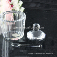crystal jar ,crystal ice cream pot with spoon,crystal snack jars